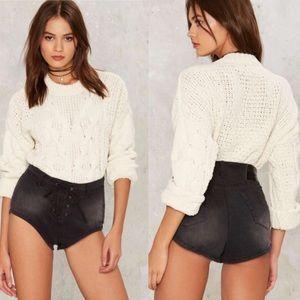 One Teaspoon Sixties Lace-Up Denim Shorts
